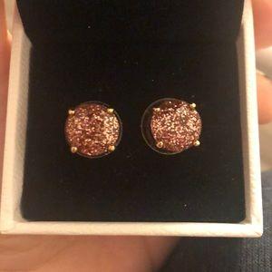 Pink sparkly Kate spade stud earrings